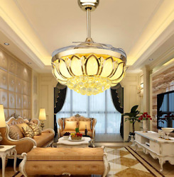42quot; Crystal Invisible LED Ceiling Fan Lamp Remote Control Pendant Chandelier $174.59