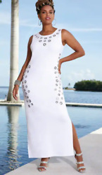 Ashro White Formal Grommet Maxi Dress Size 1X 3X PLUS $25.99