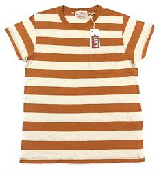 Levis Vintage Clothing LVC 1950s Sportswear T Shirt Mens Striped Orange Cotton $49.99