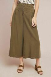 Anthropologie Womens Wide Leg Flare Pants Cropped Oceanside Olive Green Size S $34.00