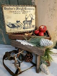 PRIMITIVE VICTORIAN VINTAGE STYLE CHRISTMAS DASHERS SLEIGH CO. 1807 CANVAS SIGN $14.50