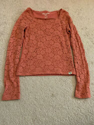 Abercrombie girls long sleeve lace tee DARK PINK sz 9 10 $9.99