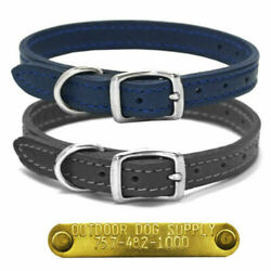1 2quot; Ultra Soft Luxe Small Dog Leather Collar amp; Custom Brass Name Id Plate Tag $15.99