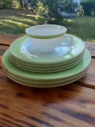 Vintage Pyrex Lime Green amp; Milk Glass White Dinner amp; Salad Lot of 8 pcs. $15.99