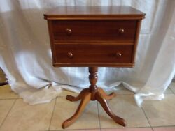ANTIQUE TABLE SEWING STAND MAHOGANY FEDERAL STYLE 2 DRAWERS FLUTED LEGS PRE 1950 $299.00