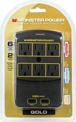 Monster Power Gold 650 6 Outlet Fast Charging 2 USB Ports Wall Surge Protector $27.99