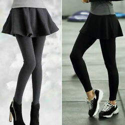 Women Fake Two Pieces Leggings Pants With Pleat Skirt Winter Warm Skinny Pants $17.40