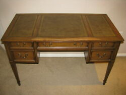 Sligh Vintage Mid Modern Writing Desk with Leather Top with 4 Drawers $1750.00