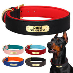 Personalized Dog Leather Collars Soft Neoprene Padded Name ID Tag Engraved S 2XL $12.99