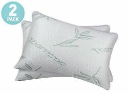 2 PACK Bamboo Shredded Memory Foam Bed Pillows Hypoallergenic Cover Queen Size $26.90