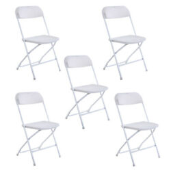5 X Commercial White Plastic Folding Chairs Stackable Wedding Party Event Chair