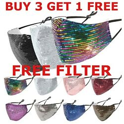 Reusable Washable Glitter SEQUIN Face Mask Adjustable Fashion Bling Face Cover $6.99
