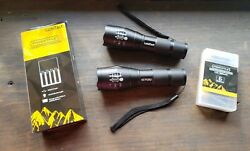 2 Lumitact G700 LED Tactical Flashlights Rechargeable Batteries amp; Charger $12.75