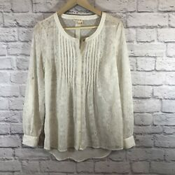 Anthropologie Meadow Rue Medium Blouse White Bohemian Shirt Embroidered READ $32.00