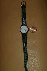 Daniel Mink women#x27;s watch pre owned green leather band $23.99