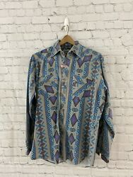 Authentic Western Youngbloods Mens Look Western Shirt Snap Button Size Medium M $29.99