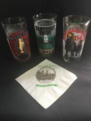 Kentucky Derby Glasses Lot Of 1982 83 84 Plus Cocktail Napkin Churchill Downs $17.99