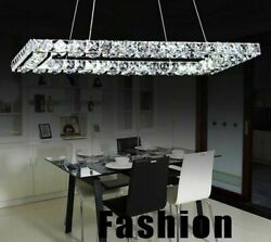 Stainless Crystal Chandelier Lights Modern LED Lampshade With Remote Controller $265.88