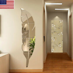 US 3D DIY Removable Feather Mirror Home Room Decal Vinyl Art Stickers Wall Decor $7.43