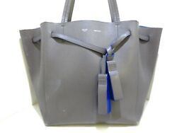 Auth CELINE Cabas Phantom Small With Tassel Gray Leather Tote Bag $500.00