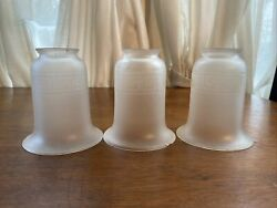 """Set of 3 Frosted Greek Key Design Glass Chandelier Shades Chipped 5""""H 4.5""""D 2.25 $29.99"""