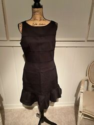 black cocktail dress size 10 small horizontal lace lines very flattering $19.90