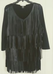 Beautiful Peter Nygard Fringed Top Size large very classy long sleeves.$89.00 $11.99