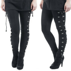 Womens Ladies Gothic Punk Black Stretch Trousers High Waisted Lace Up Slim Pants $18.29