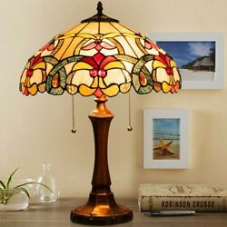 Tiffany Style Victorian 2 Light Table Lamp with 16quot; Stained Shade $164.37