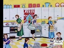 RPMM95A RARE Retro Kitchen Atomic Cooking Cleaning Domestic Cotton Quilt Fabric $3.97