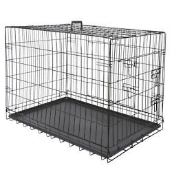 36quot; High Quality Dog Crate Kennel Folding Pet Cage 2 Door With Tray Dog House $39.99