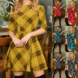 Women#x27;s Check Plaid Christmas Mini Dress Ladies Half Sleeve Swing Party Dresses $13.79