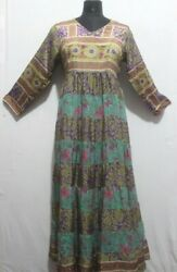 Vintage Woman#x27;s Clothing Patchwork Party Wear Long Dress Hippie Maxi Gown D 21 $59.99