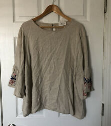 Jeanette Plus Boho Embroidered Bell Sleeve Tan Top Plus Size 2X $24.00