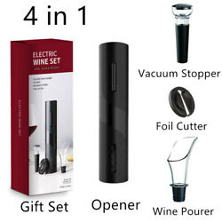Electric Red Wine Bottle Opener Automatic Corkscrew Stopper Cutter Pourer Set $16.99