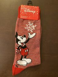 Disney Mickey Mouse Christmas Socks 1 Pair Fits Shoe Size 6 12 Red New $7.49