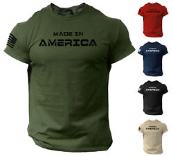 Made in America T Shirt USA Flag Military Patriotic Tee $13.90