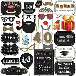 40th Birthday Photo Booth Props with Strike a Pose Sign by Sunrise Party $10.52