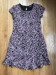 Lilly Rose 10 Girls Dress Black Pink Flowers Soft Nice $6.49