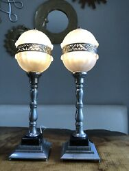 Pair Art Deco Lamps Boudoir Petite Nightlight Frosted Glass Silver $80.00