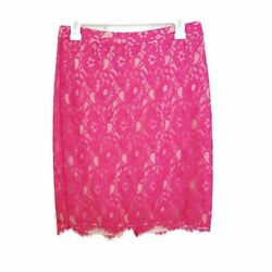 Joie Lace Overlay Knee Length Pencil Skirt Hot Pink w Nude Lining Size Small $52.00