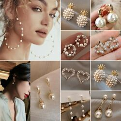 Fashion Women Pearl Crystal Ear Stud Earrings Drop Dangle Wedding Jewelry Gifts $3.59