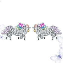 1 Pair Colorful Unicorn Earrings Stylish Ear Stud Ear Accessories Casual $6.64