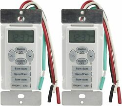 Details about 2 Pack In Wall Digital Timer w 3 Preset amp; 1 Custom Program