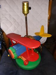 Vintage Wooden Bi Airplane Lamp Childrens Bedroom Table Light $65.00