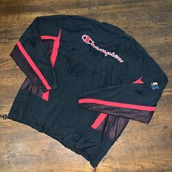 Vintage Champion Sportswear Logo Half Zip Windbreaker Sz XL Black $50.00