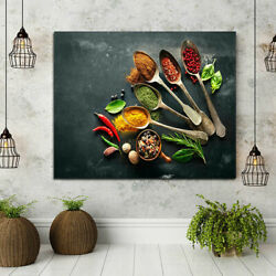 1Panel Canvas Kitchen Wall Art Spoons And Spices Modern Home Decor Frameless $10.54