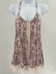 free people romantics floral tank top cross back size small with pockets Ruffle $22.99