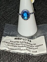 Ring Bomb Party Size 7 Aqua Blue Topaz and Blue Sapphire $25.00
