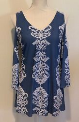 COCO BIANCO Womens Size Medium M Cold Shoulder Bell Sleeve Top Blouse NWT $16.70